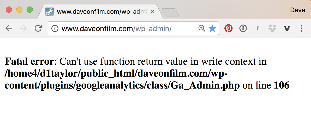 wordpress site broken, error message displayed