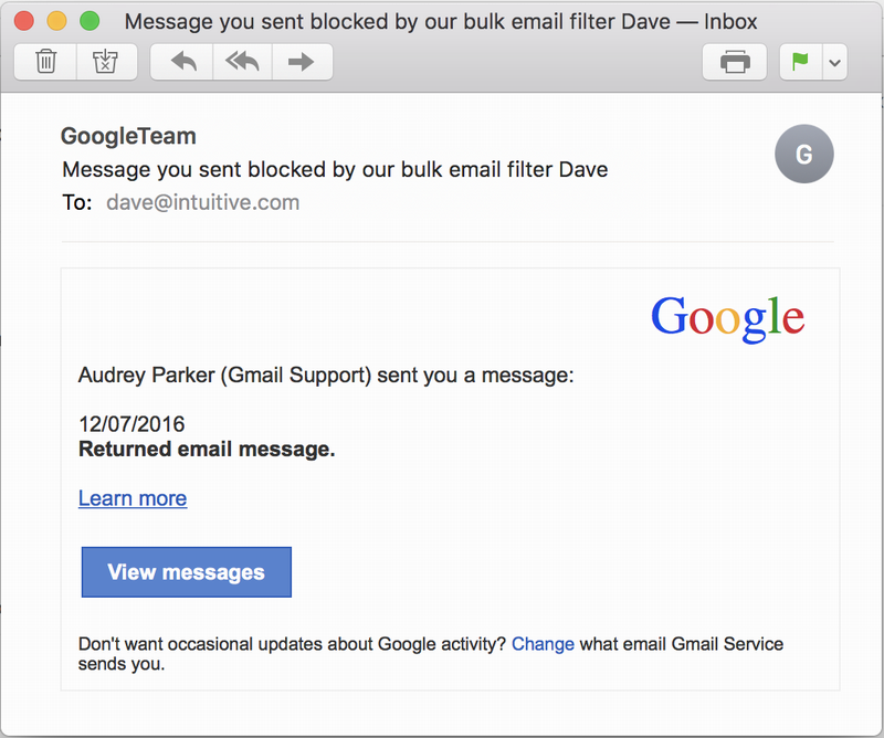 spam scam message you sent blocked by our bulk email filter google gmail