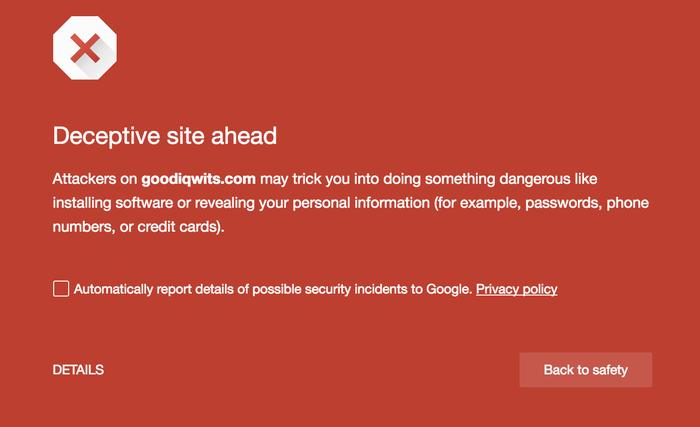 chrome deceptive site ahead warning