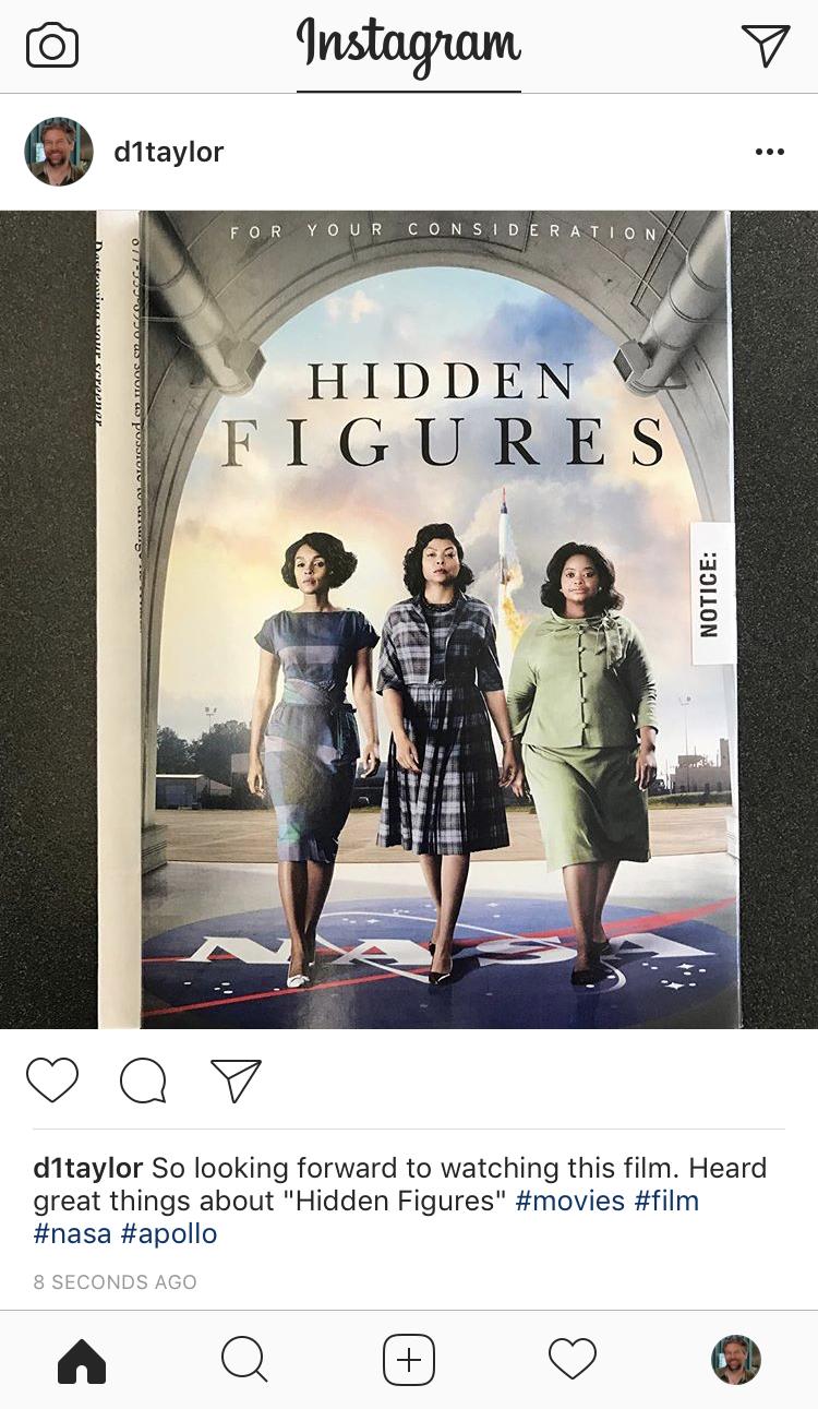 hidden figures academy screener dvd instagram post