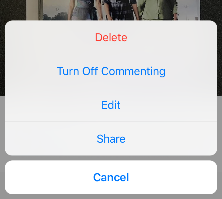 turn off commenting instagram post