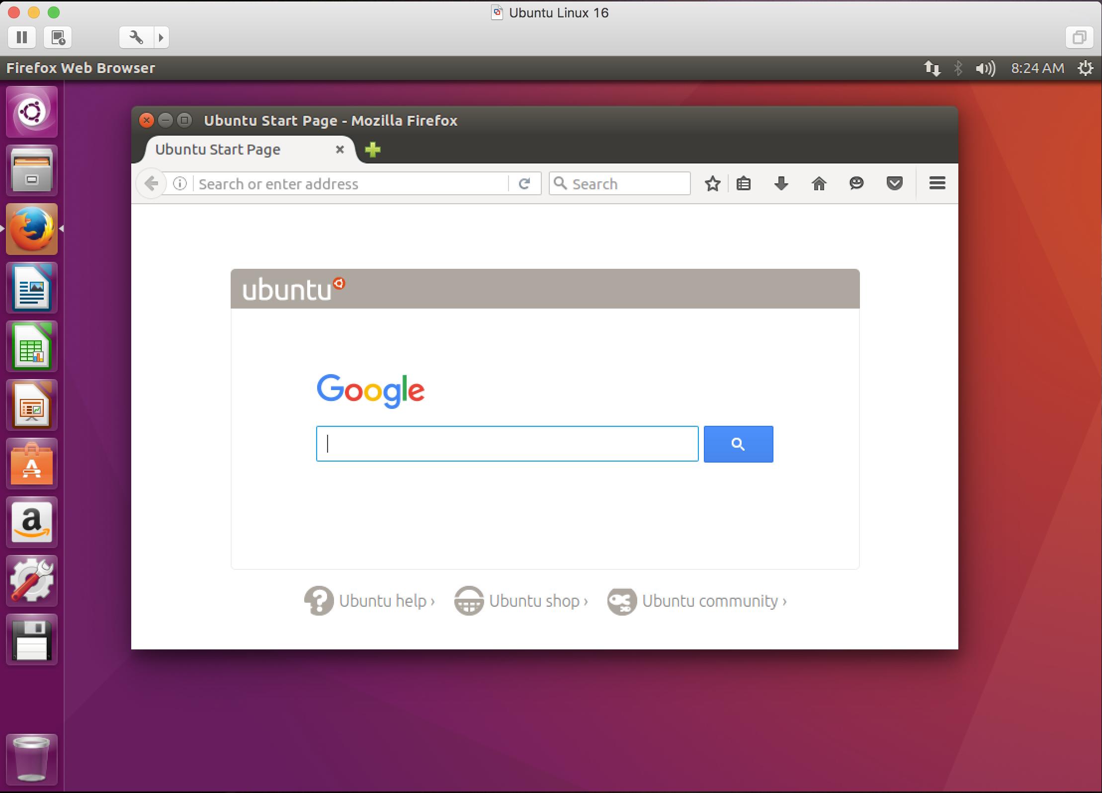 ubuntu linux w/ firefox, running in vmware fusion