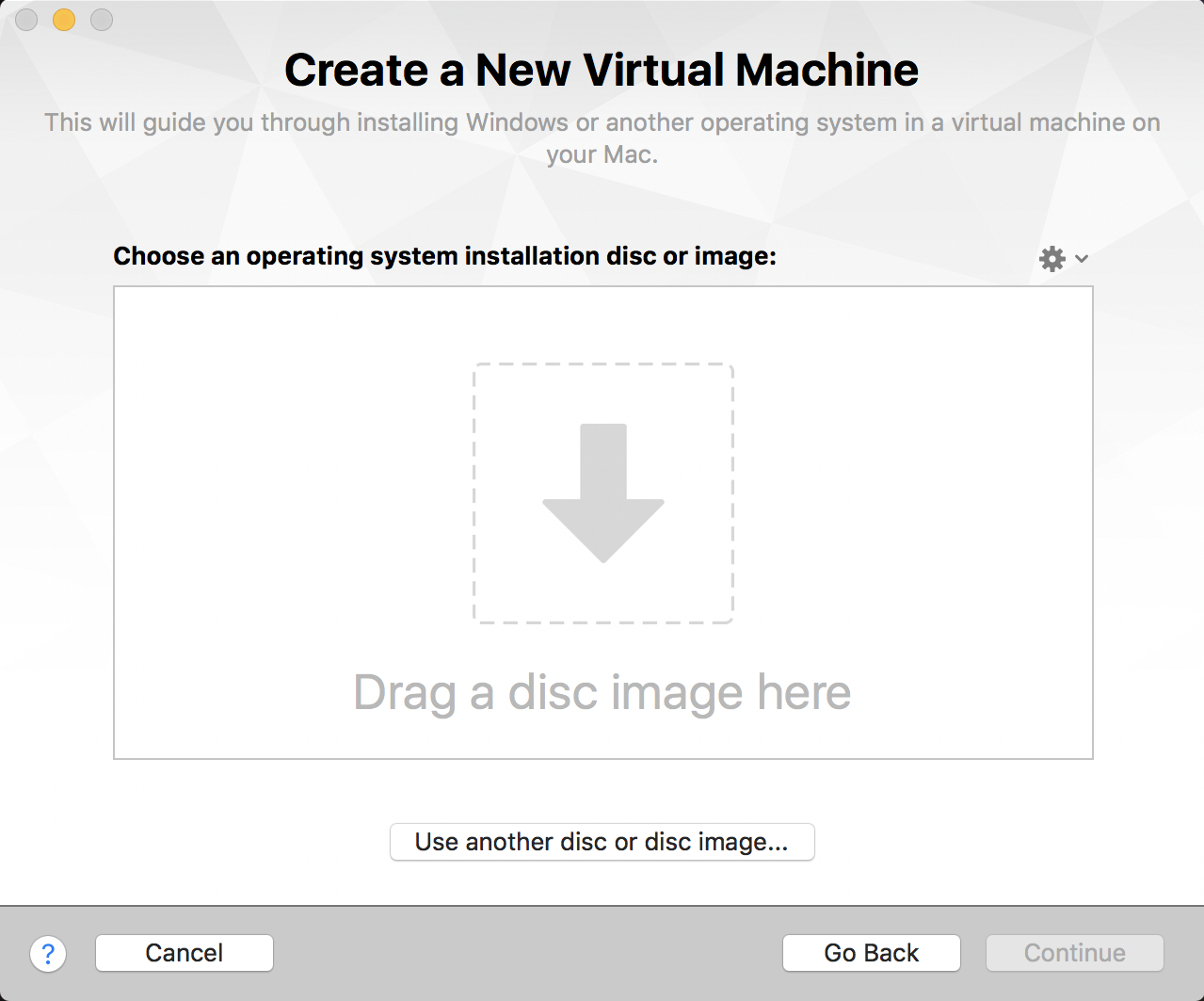 drag and drop iso image create new vm