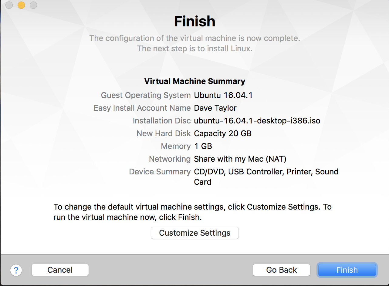 ready to easy install linux vmware fusion mac macos x