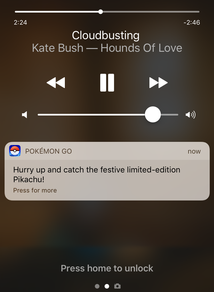 pokemon go notification, apple iphone 7 6 6s lock screen