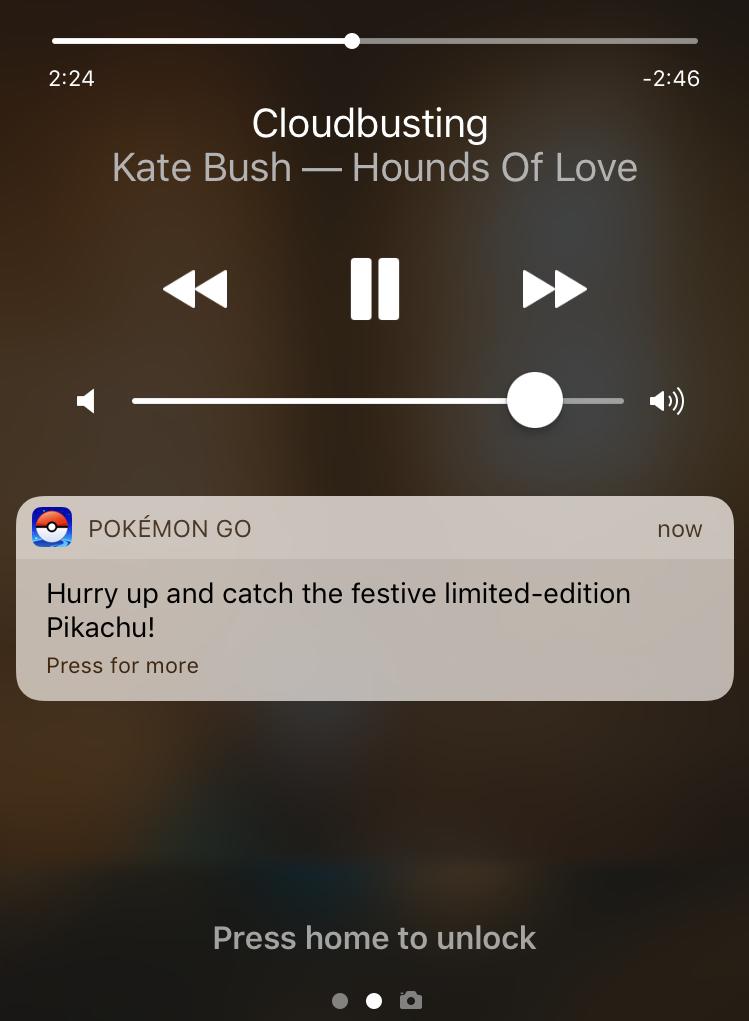 pokemon go notification, apple iphone 7 6 6s lock screen