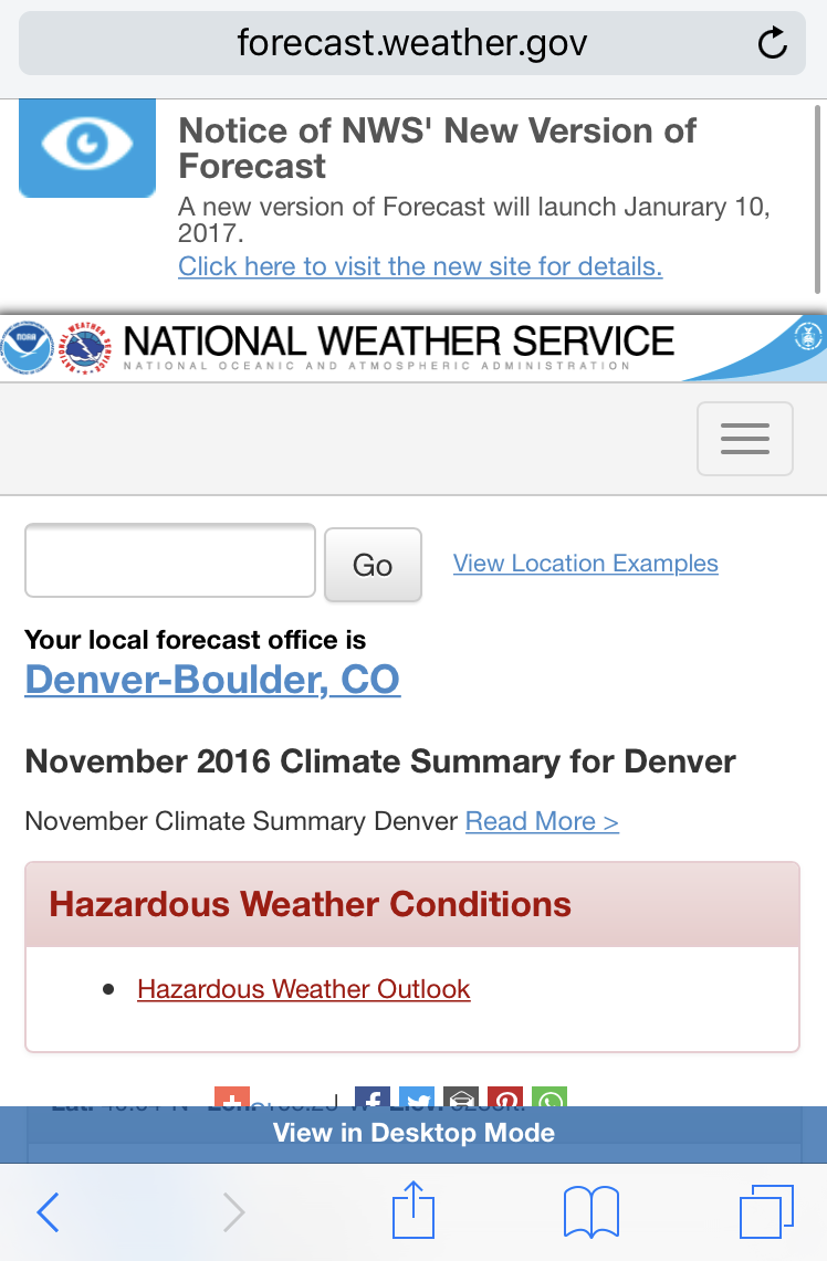 national weather service web browser view safari ios 10 iphone