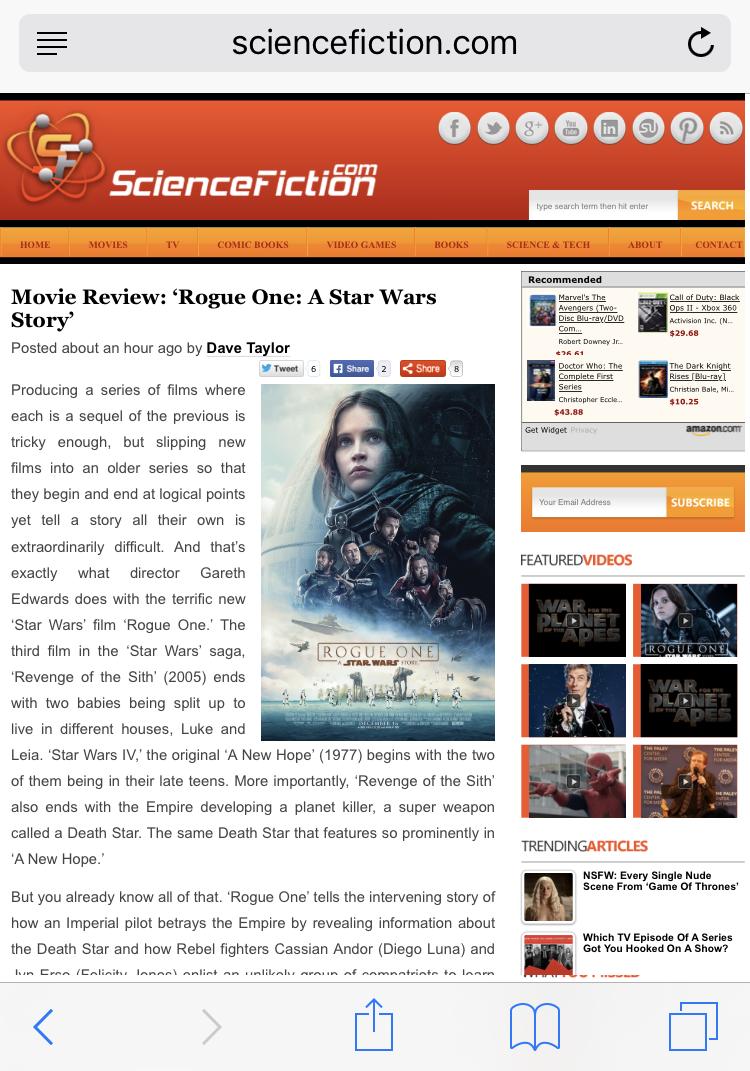 sciencefiction.com star wars reader view safari ipad iphone