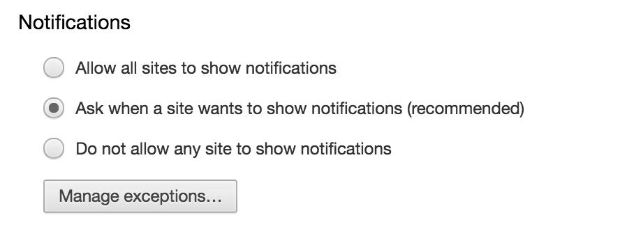 notifications options, google chrome, push