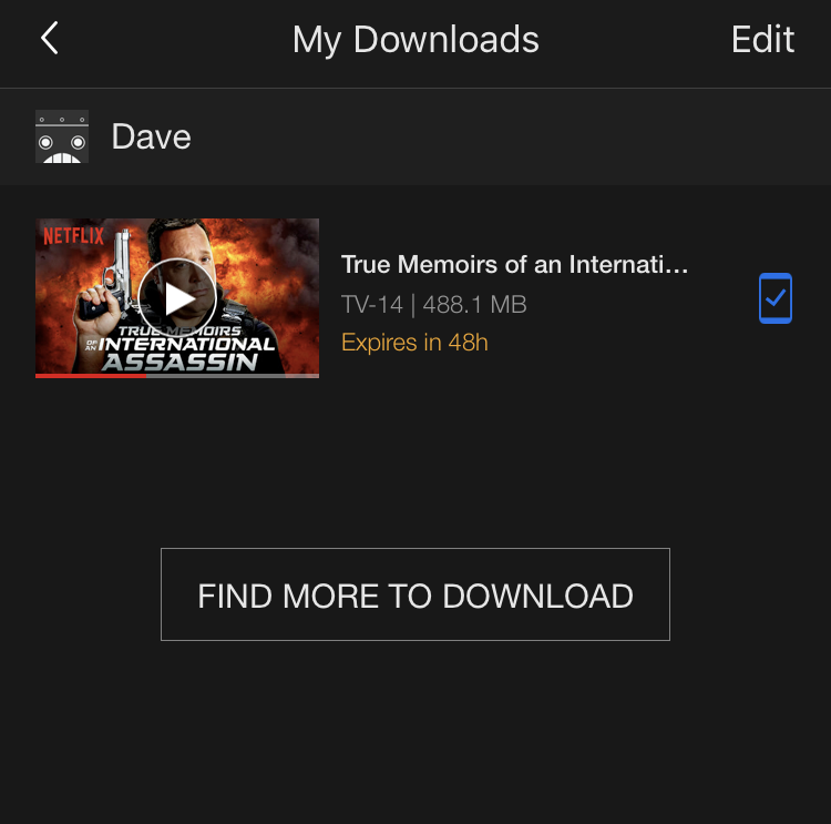 my downloads screen, netflix app iphone ios 10