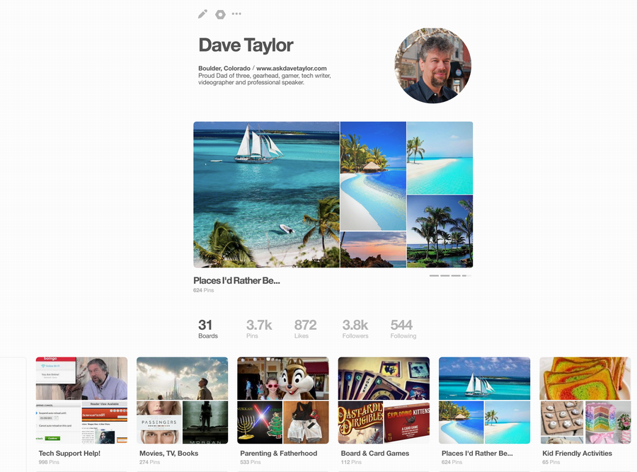 pinterest profile with showcase feature