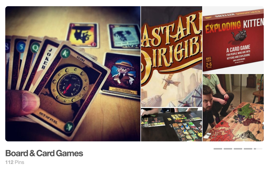 pinterest showcase, board games