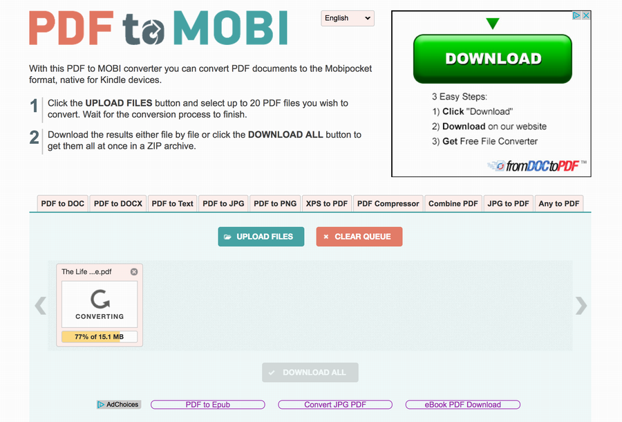 pdf to mobi conversion service