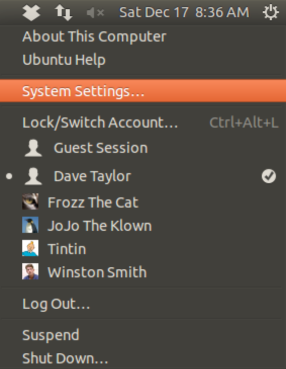 gnome ubuntu linux system settings menu