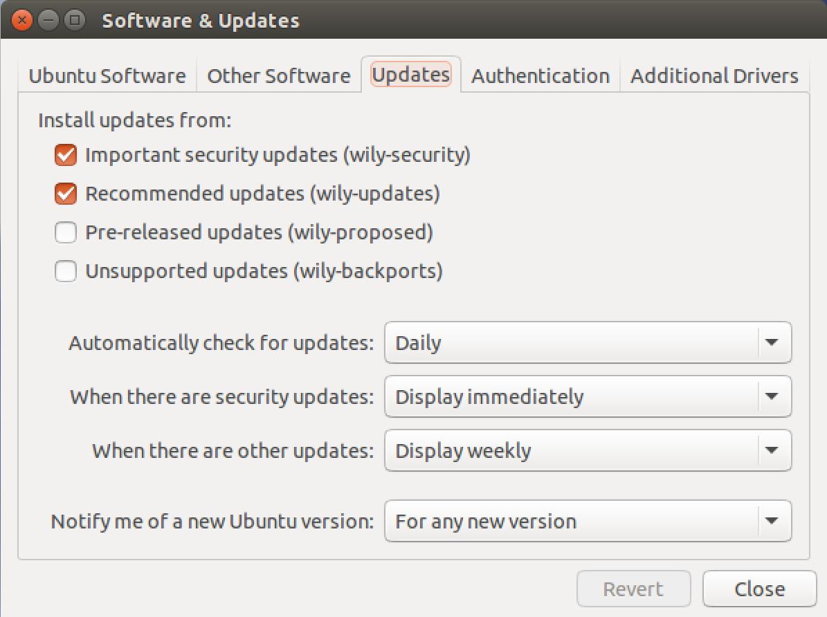 ubuntu linux 15 system settings > software and updates > updates