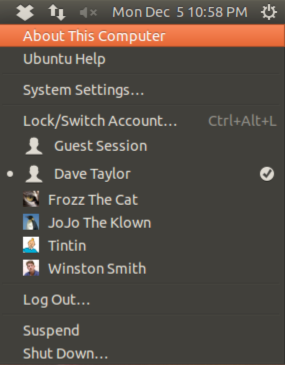 about this linux system menu ubuntu