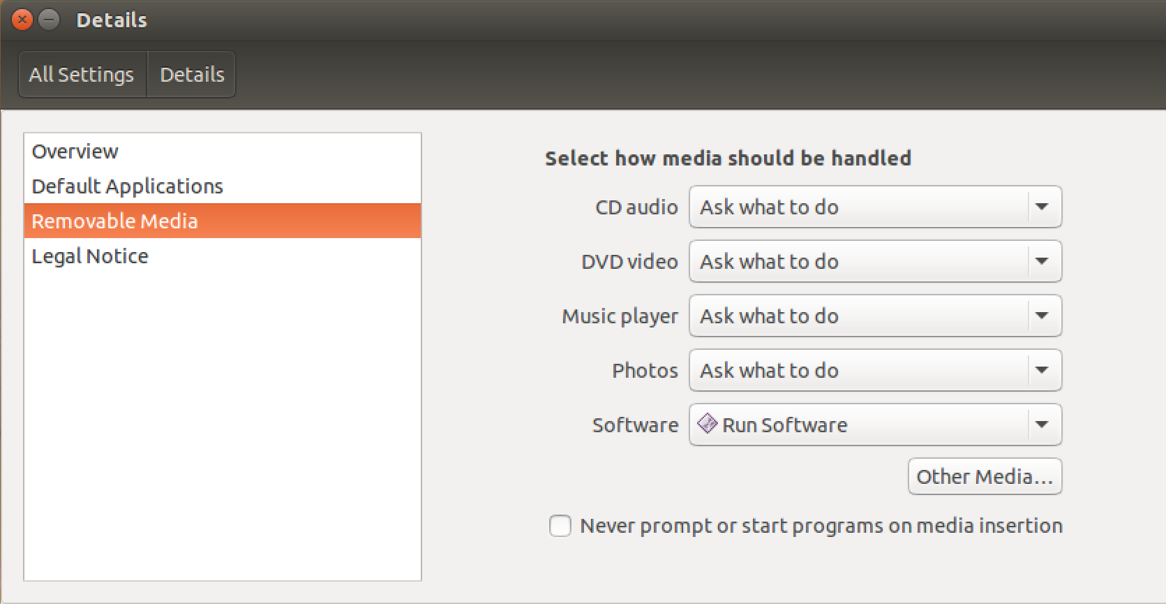 ubuntu linux removable media actions settings preferences