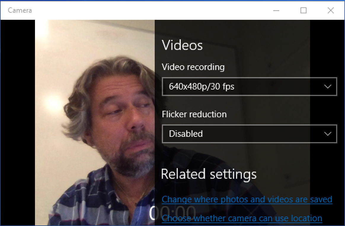 settings preferences windows camera webcam video recording app