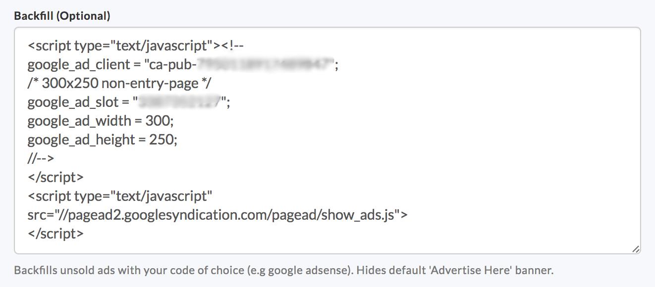 google adsense code backfill adclerks