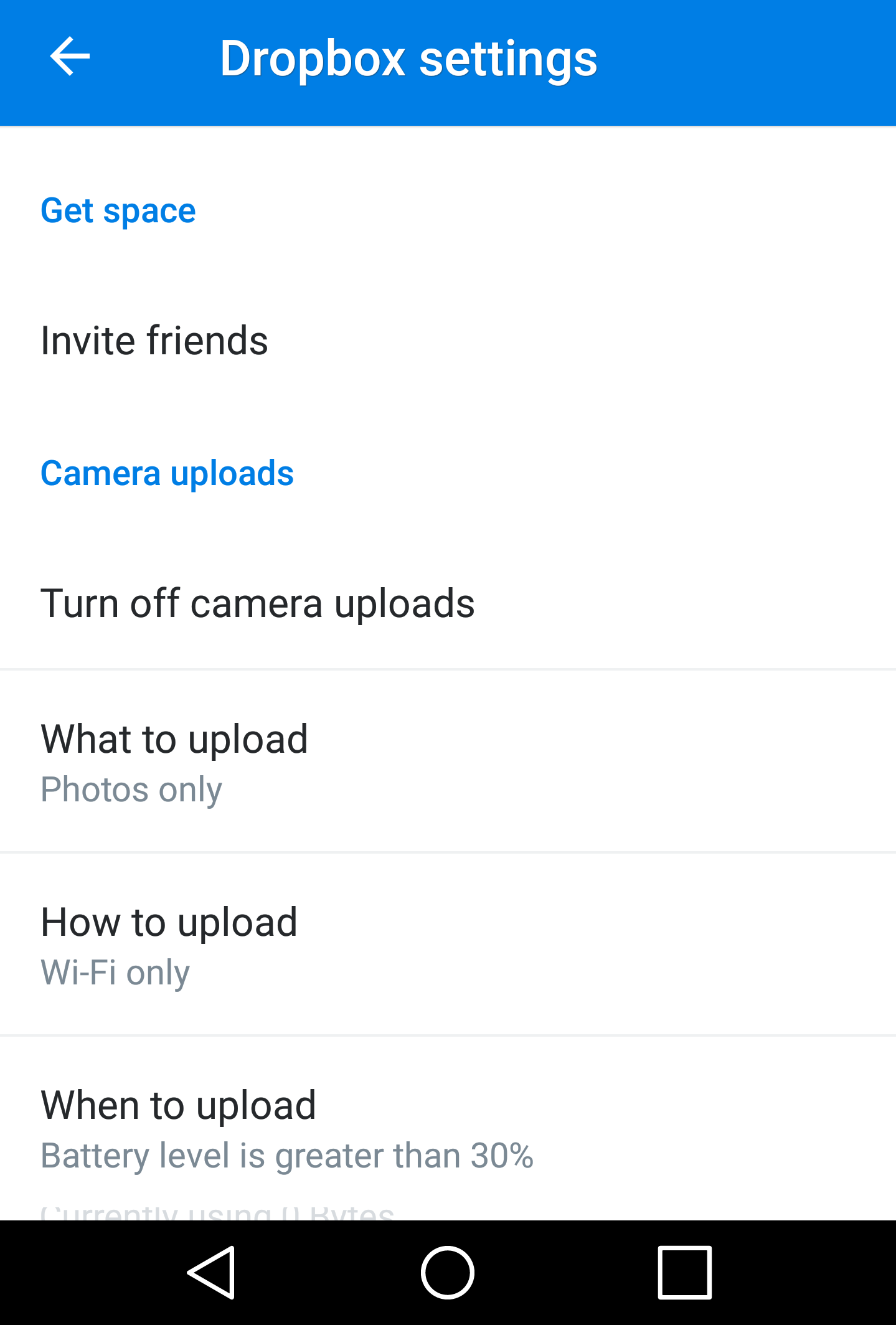 change settings android dropbox auto-upload photos