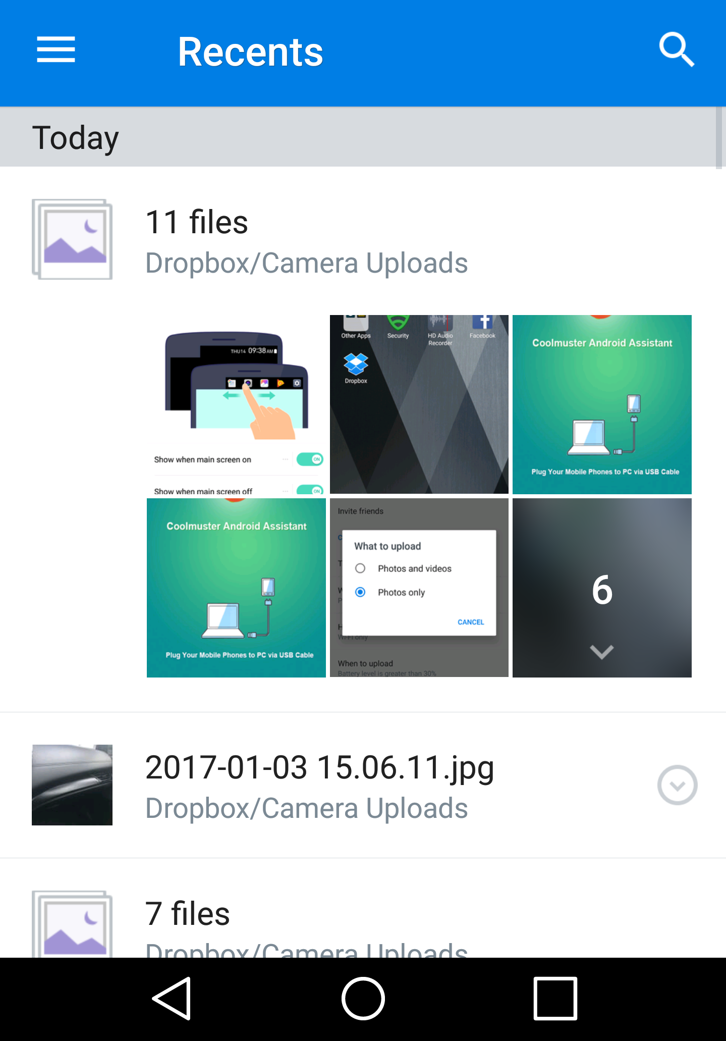 android dropbox 11 files uploaded