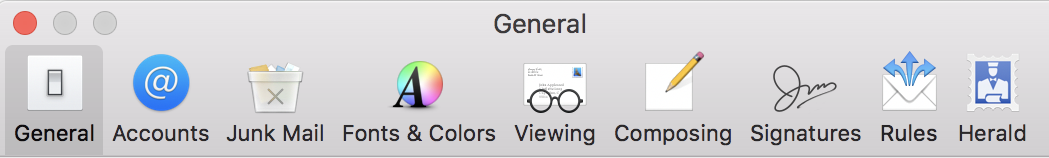 herald icon button added, apple mail preferences settings