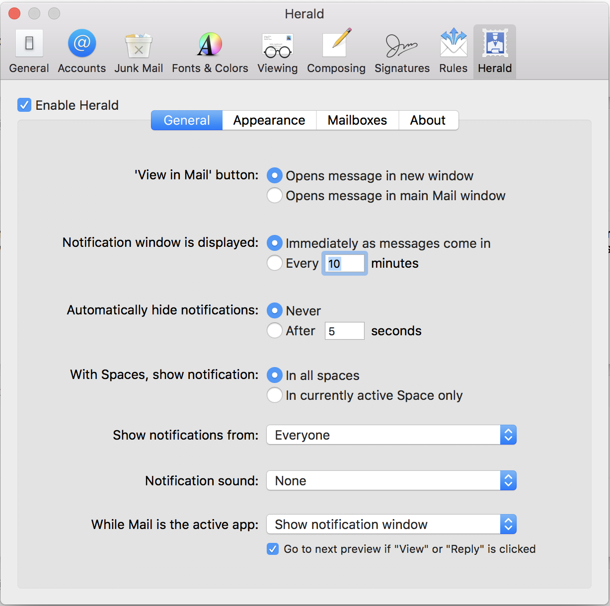 herald apple mail notifications plugin extension