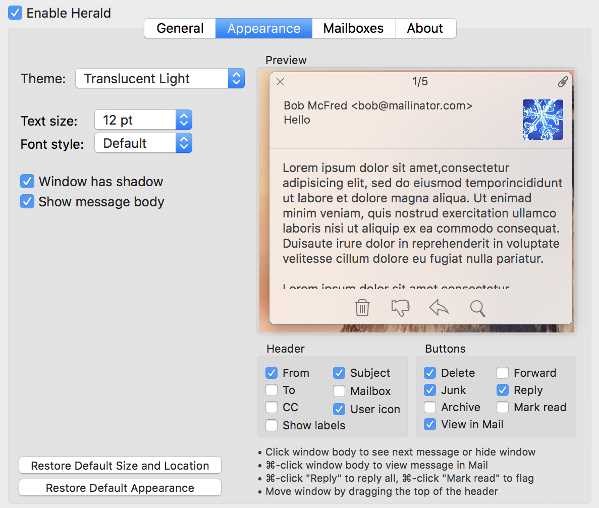 apple mail plugin extension appearance preferences settings