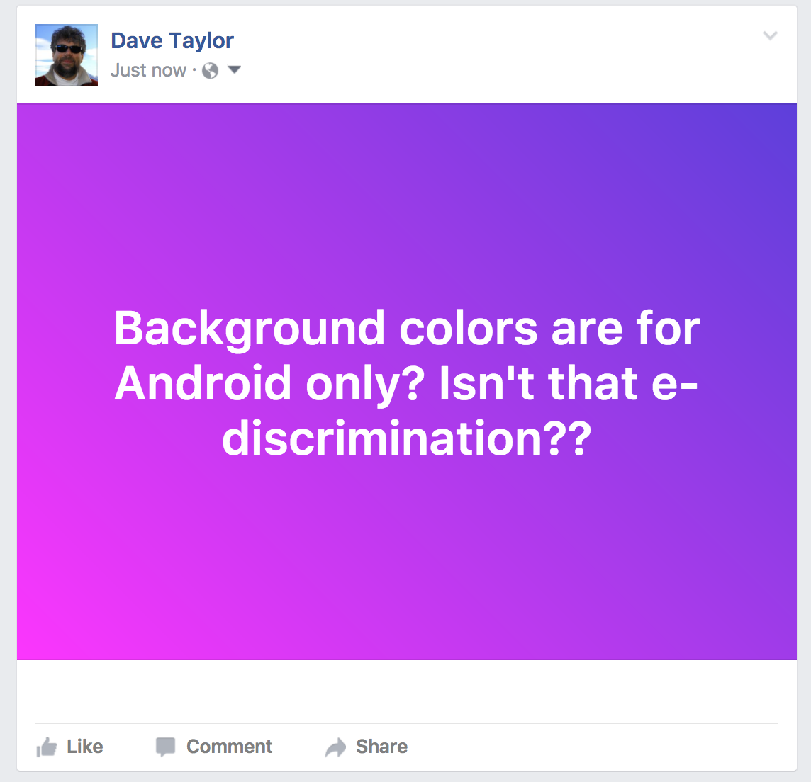 facebook status update with pink/purple gradient background color