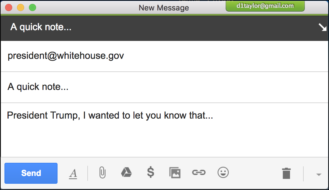 sample gmail message to president@whitehouse.gov