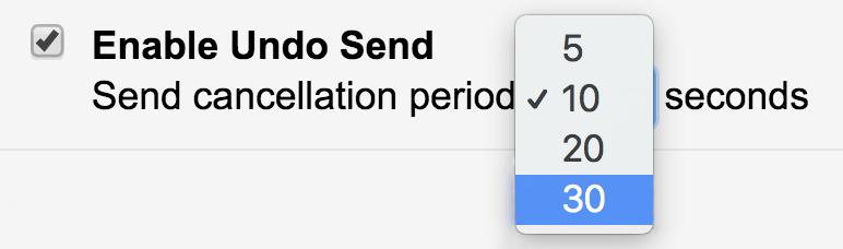 how long undo send delay gmail