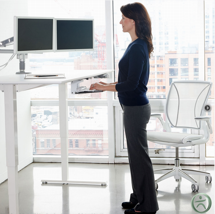 humanscale float table desk with model