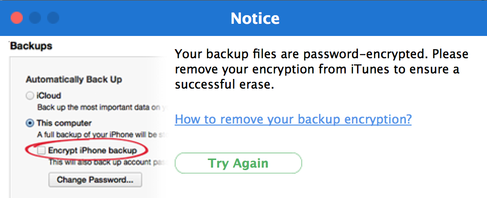 can't work with encrypted backups