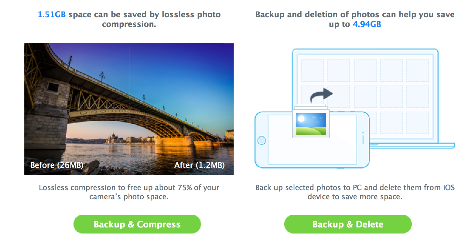 delete photos, compress free up make space iphone
