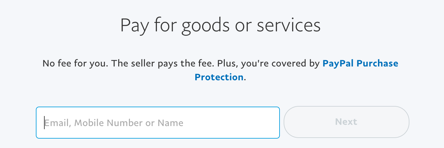 pay for goods or services on paypal: specify amount