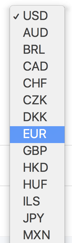 supported currencies, paypal