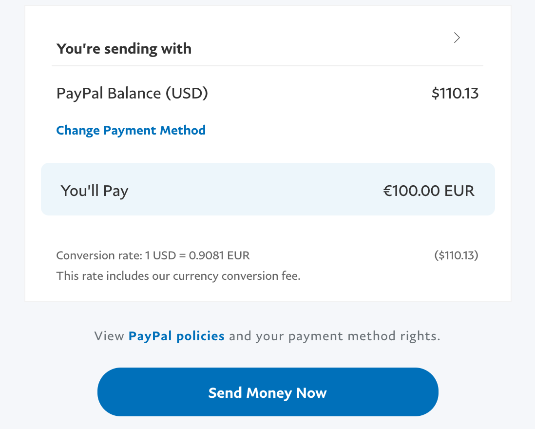 currency value and conversion, PayPal