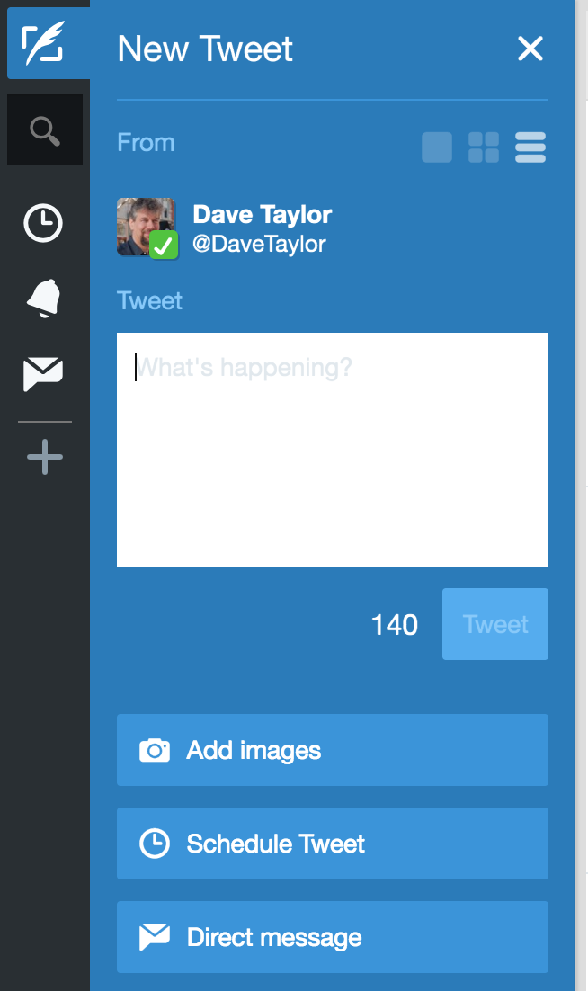 enter a new tweet, tweetdeck