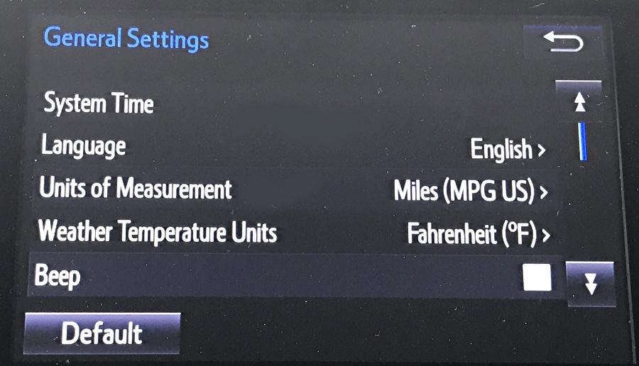 2017 toyota entune navigational entertainment system general settings