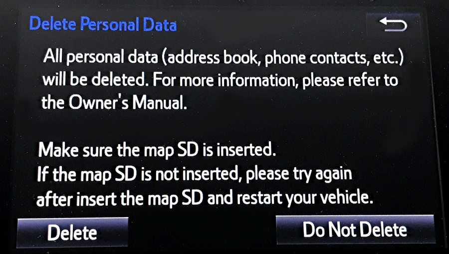 2017 toyota entune navigational entertainment system general settings delete all personal data