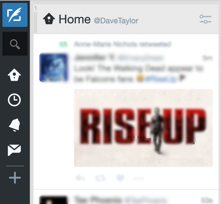 tweetdeck top left corner