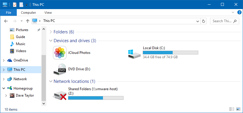 this pc disk usage summary windows 10 win10