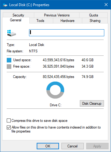 disk c: info details win10
