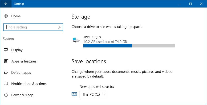 storage window settings windows 10 win10
