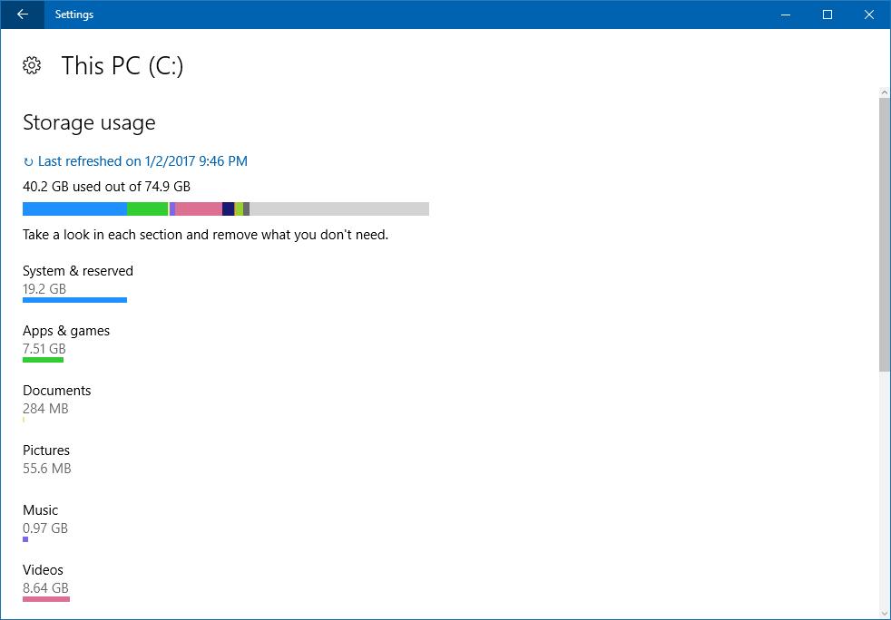 disk space usage analyzer analyze win10 windows