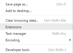 'extensions' submenu, google chrome for windows