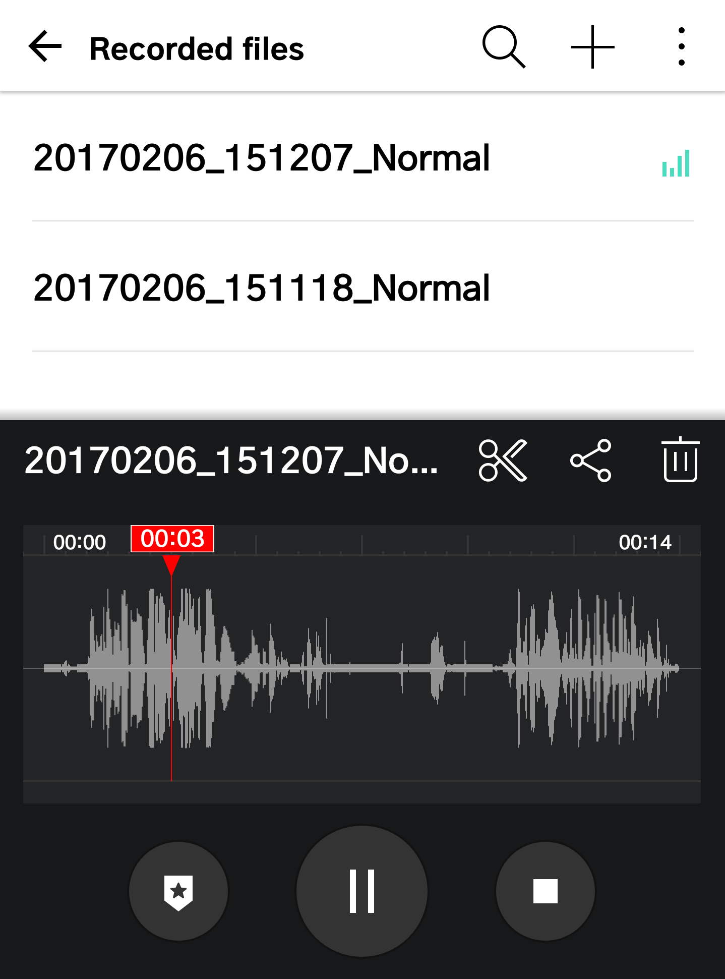 android hd audio recorder, with recordings listed