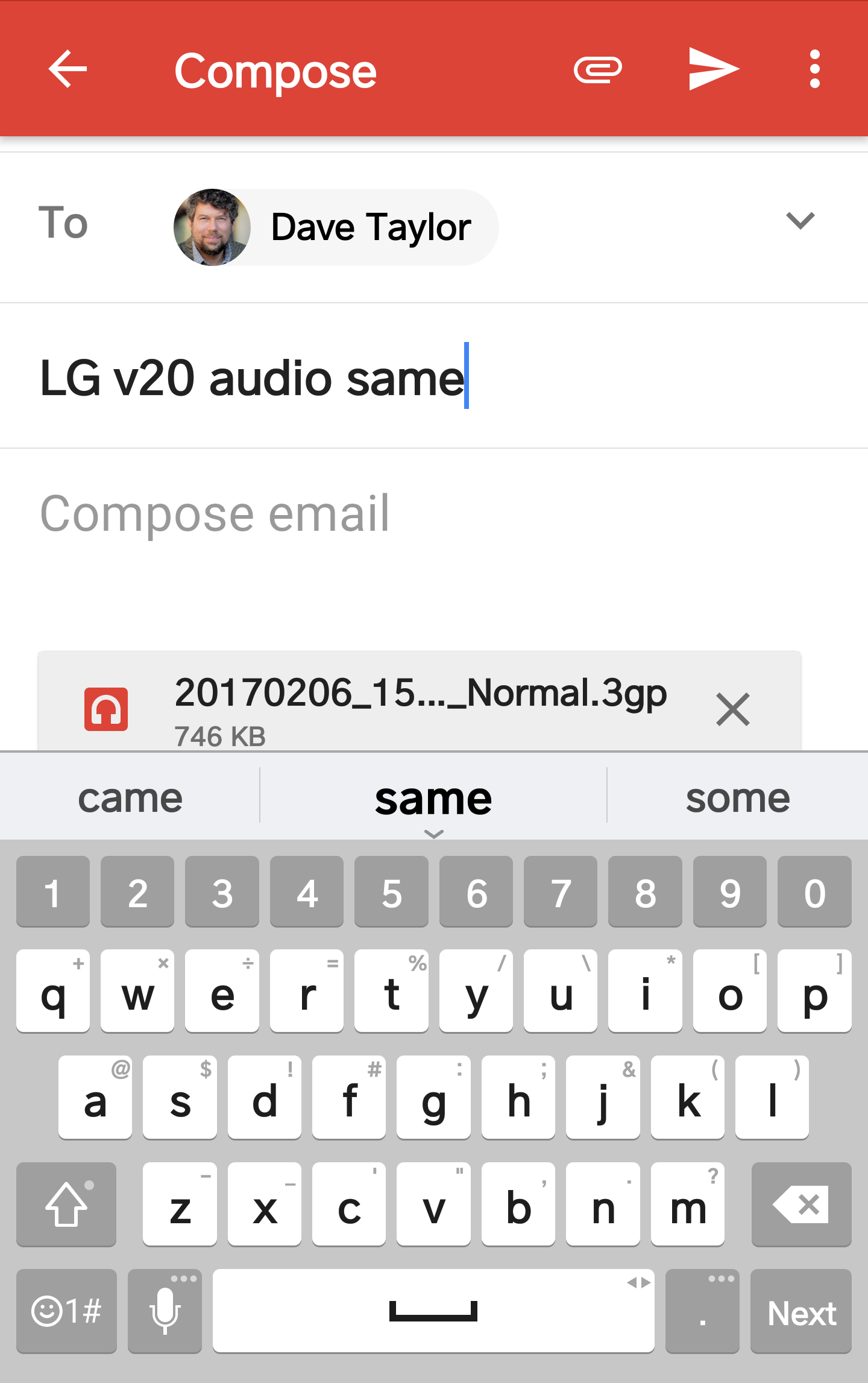 share audio recording from lg android phone via gmail