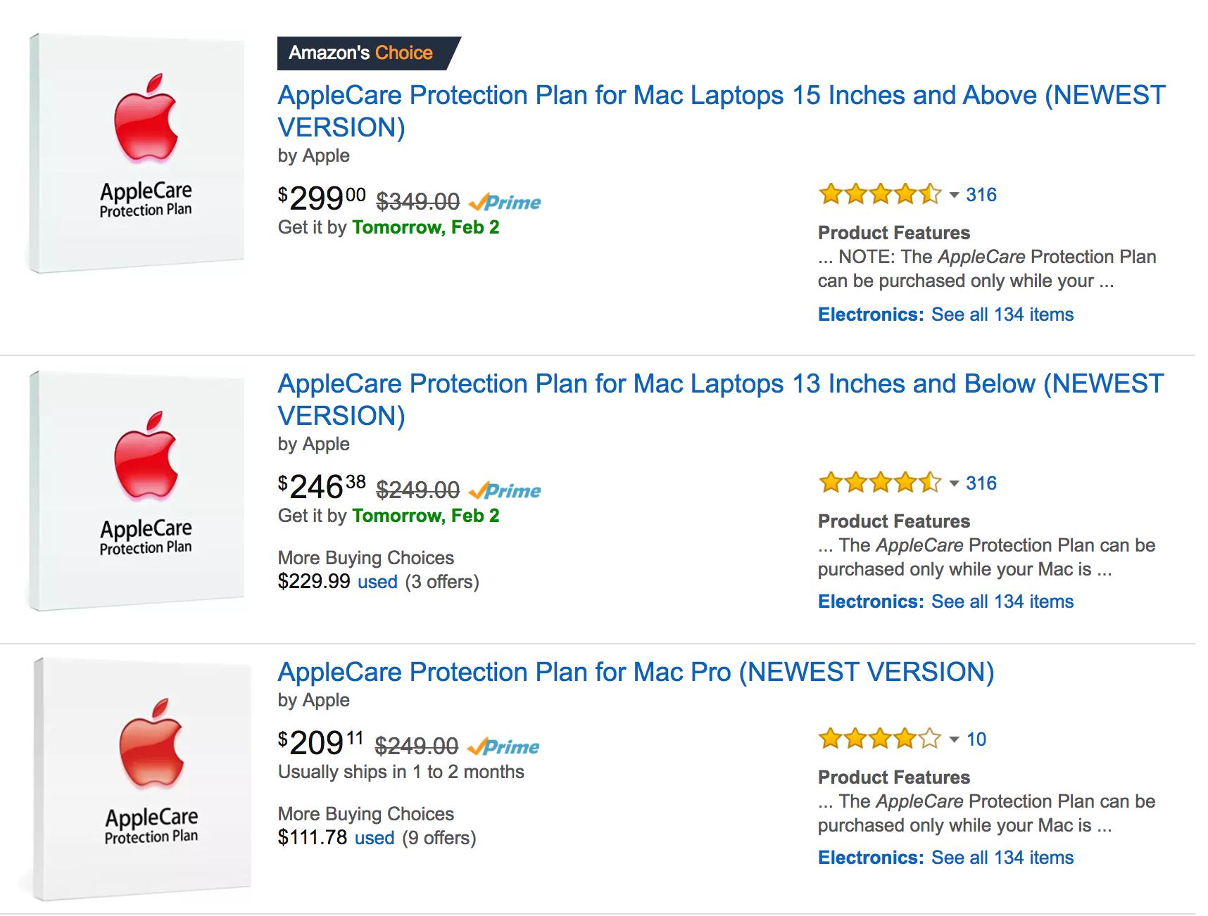 applecare options at amazon.com