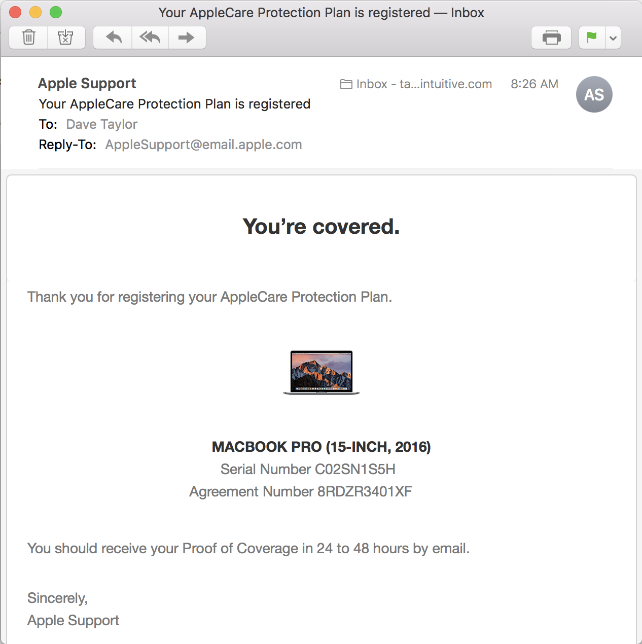 email confirming applecare coverage, macbook pro